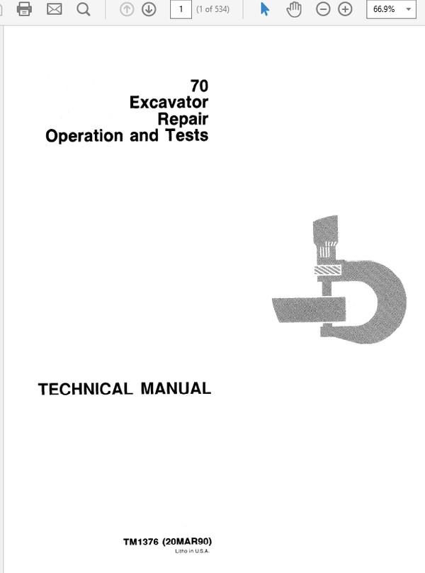 John Deere 70 Excavator Technical Manual TM-1376
