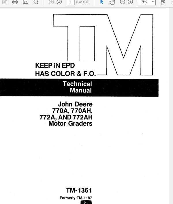 John Deere 770A, 700AH, 772A, 772AH Motor Grader Technical Manual TM-1361