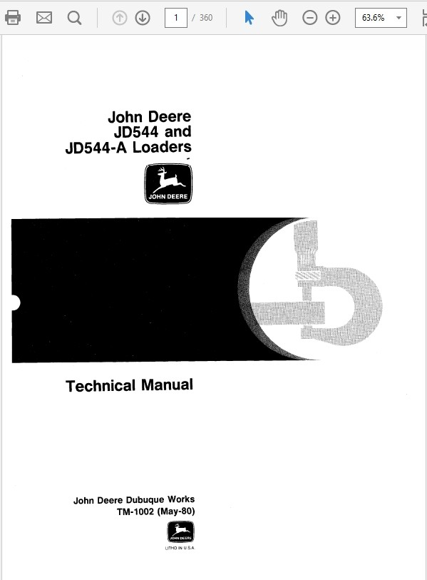 John Deere 544 and 544A Loader Technical Manual TM-1002