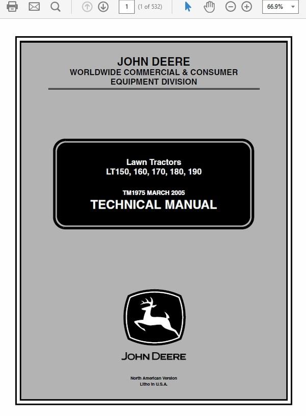 John Deere LT150, LT160, LT170, LT180, LT190 Lawn Tractors Technical Manual TM-1975