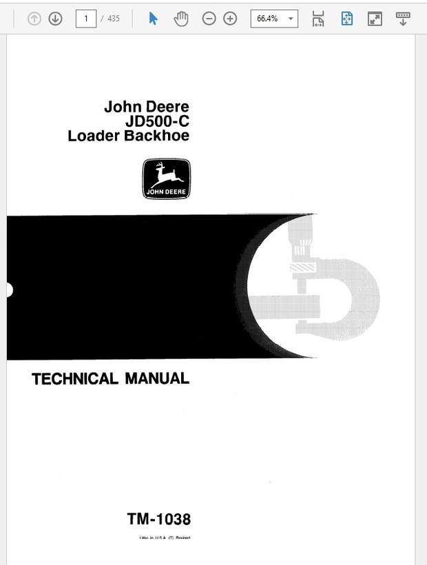 john deere 500c loader backhoe technical manual tm-103 - the repair manual