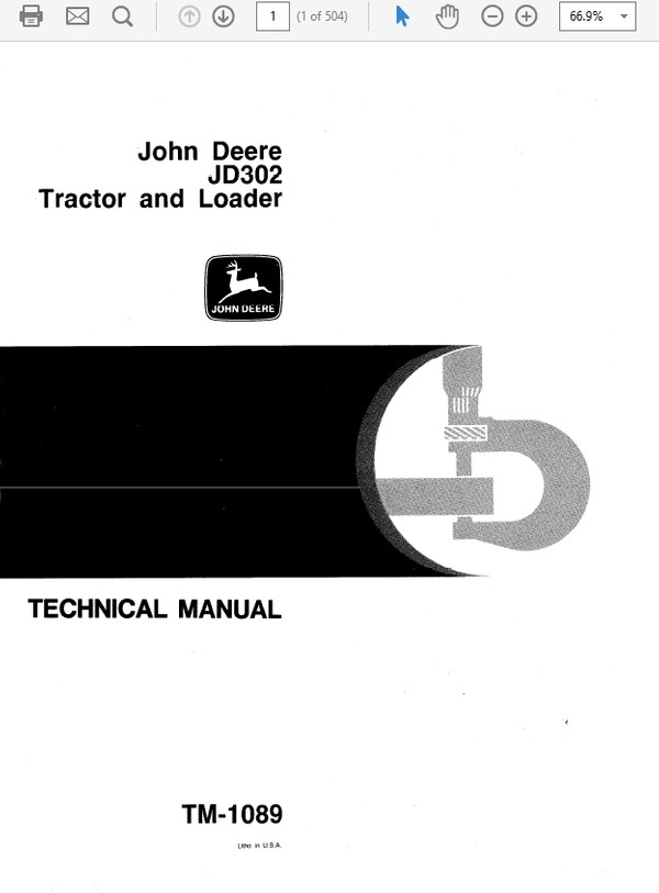 John Deere 302 Tractor and Loader Technical Manual TM-1089