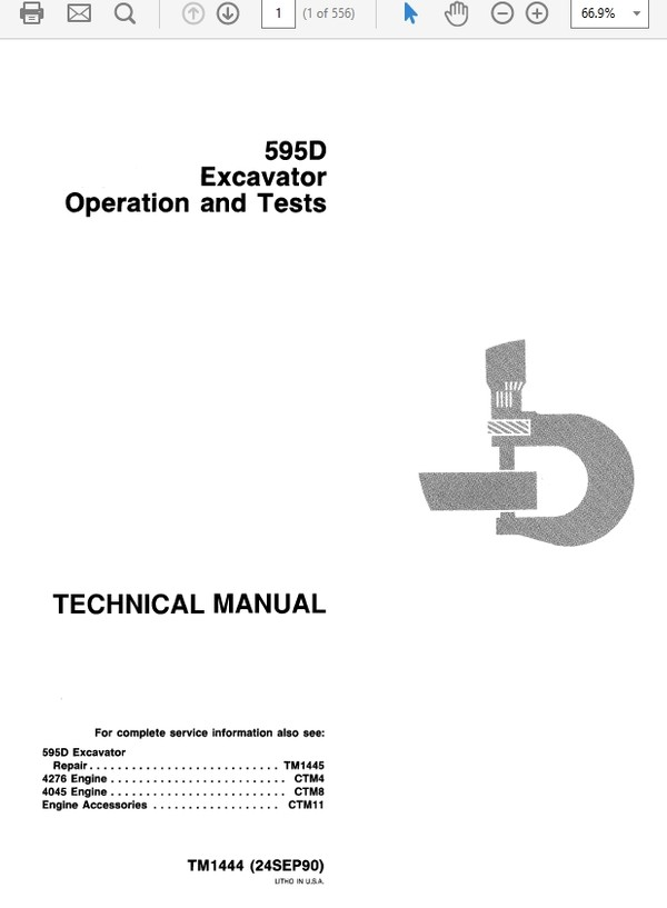 John Deere 595D Excavator Technical Manual TM-1444 & TM-1445
