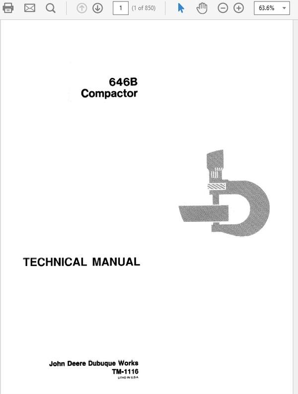 John Deere 646B Compactor Repair Service Workshop Technical Manual TM-1116