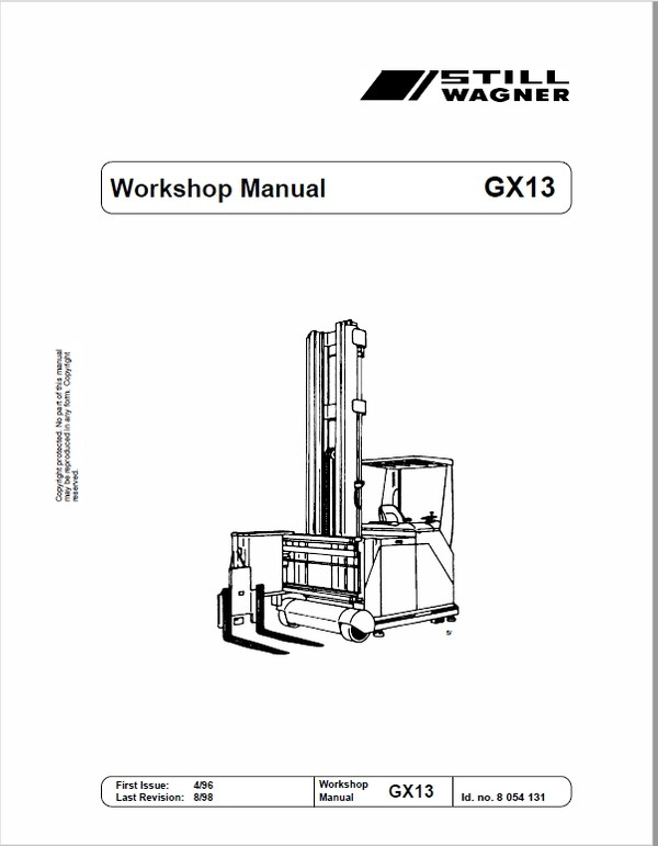 Still GX13 Order Picking Stacker Trucks Workshop Repair Manual