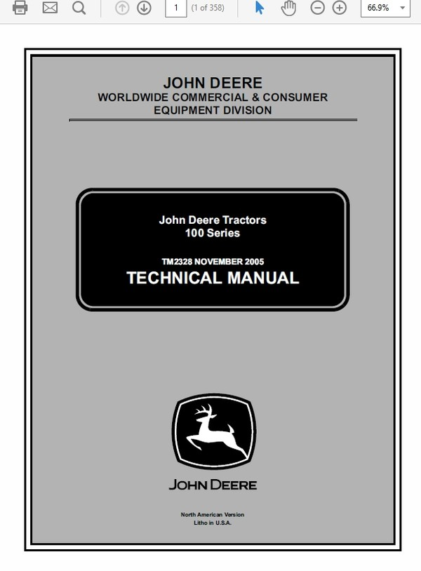 John Deere 100 series 102 115 125 135 145 155C 190C Lawn Tractor TM-2323cce