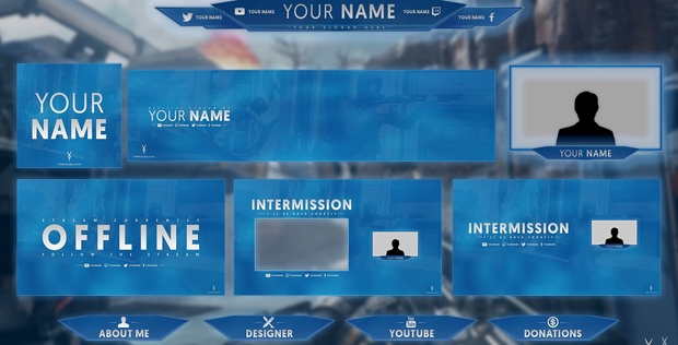 Twitch / Hitbox livestream template pack #2
