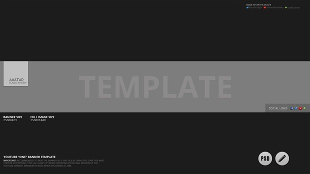 Youtube One Banner  Photoshop Template