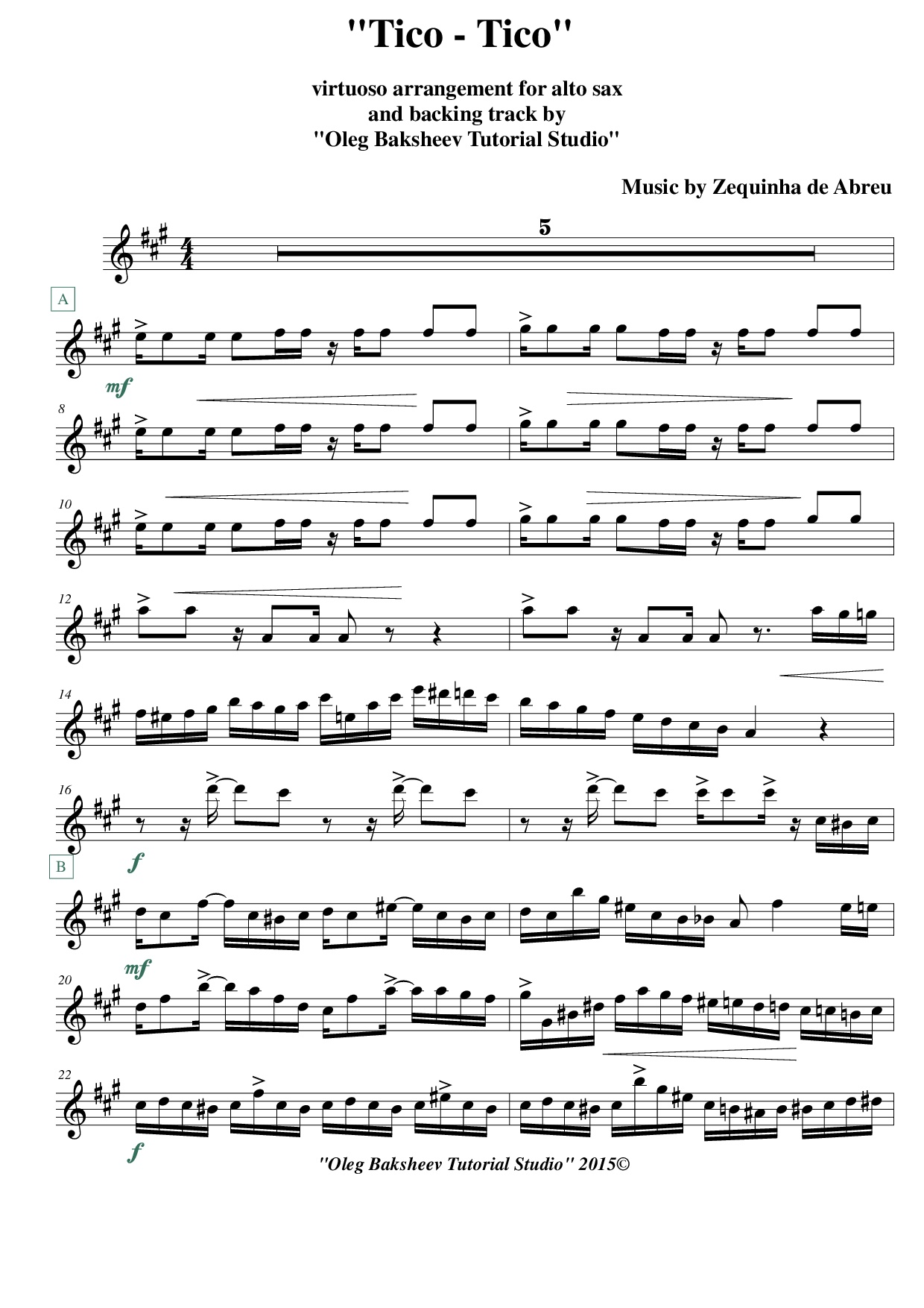 Tico Tico Alto Sax Sheet Music Backing Playalong Track
