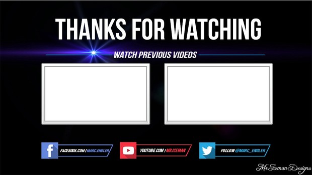 clean outro template psd and sony vegas file