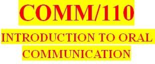 COMM 110 Week 1 Public Speaking Basics