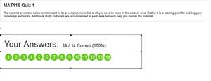 MAT 116 Week 1 Quiz (2015 Latest Version | Got 100% Scoe | A+ Study Guide)