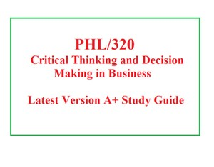 PHL 320 Week 1 Critical Thinking Discussion and Summary