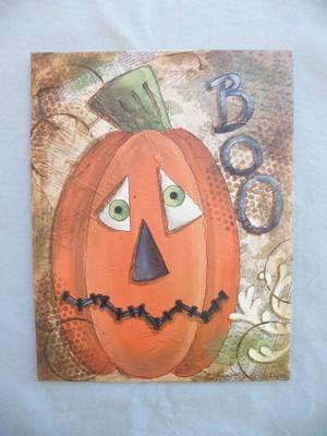 e502 Just a Pumpkin - Mixed Media