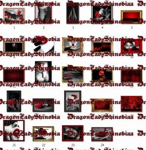 Framed Pictures black red 24 pcs.