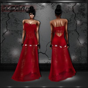 Long red sheer lace dress 01red