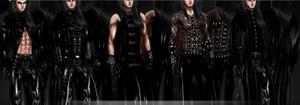 Long black PVC Coat Pack