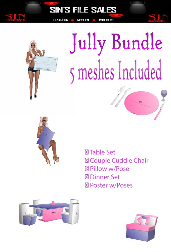 July Bundle w/Resale Rights *5 Meshes *Limited*