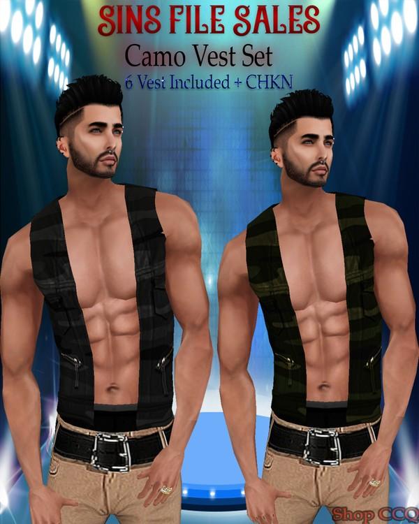 ◘Mens Camo Vest Set◘ 6 Vest + CHKN