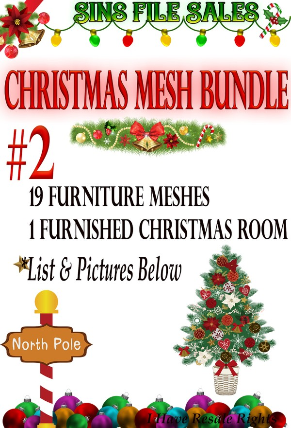 🎄Christmas🌟 Special #2🎄19 Furniture Meshes Plus Bonus Free Furnished Christmas Room🎄