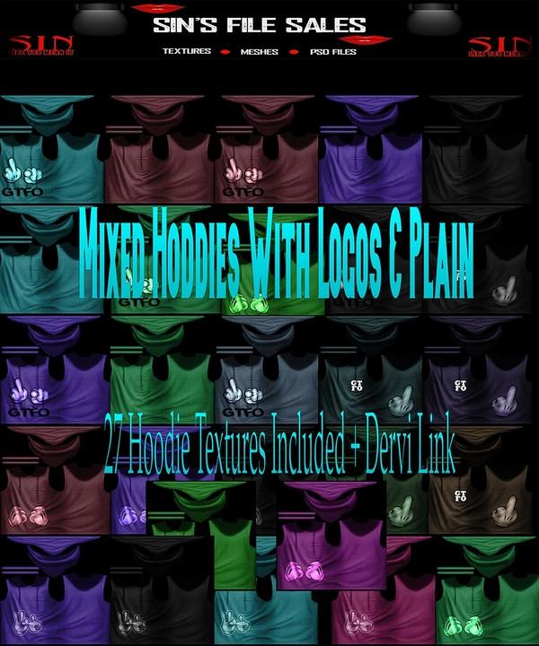 Mixed Hoodie Set *27 Hoodie Textures Included + Derv Link