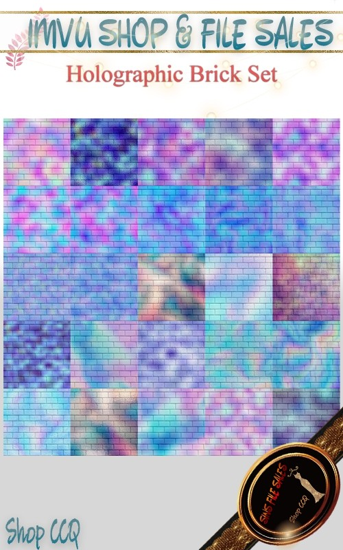 Holographic Brick Texture Set- 25 Files
