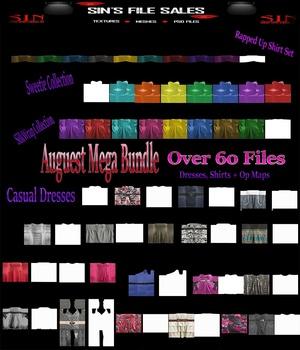 August Mega Bundle * Over 60 files (Shirts, Dresses + Op Maps)