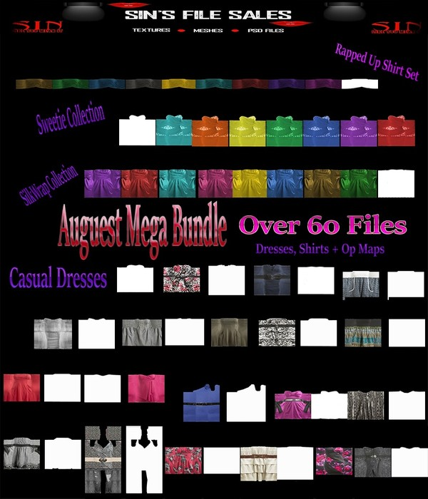 August Mega Bundle * Over 60 files (Shirts, Dresses + Op Maps)