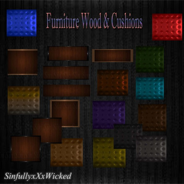 Furniture Wood & Cushions (20 files)