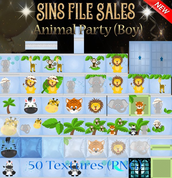 Animal Party-Boy (50 PNG Textures)