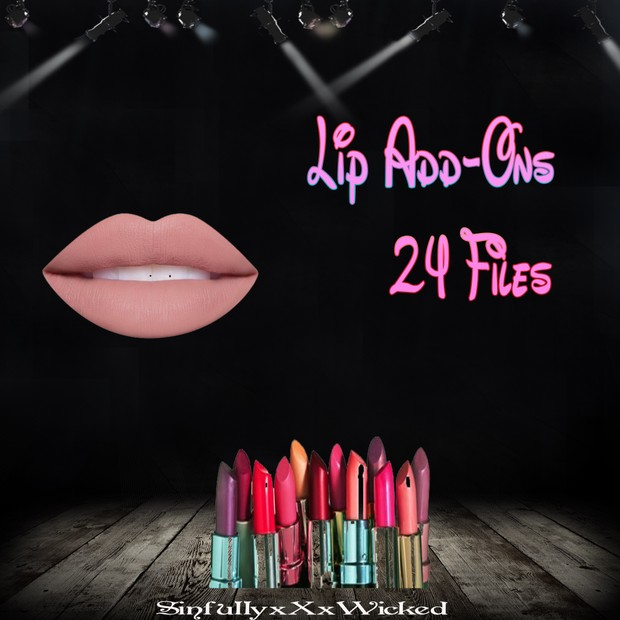 Lip Add-On's (24 Lip Pack, PNG File)
