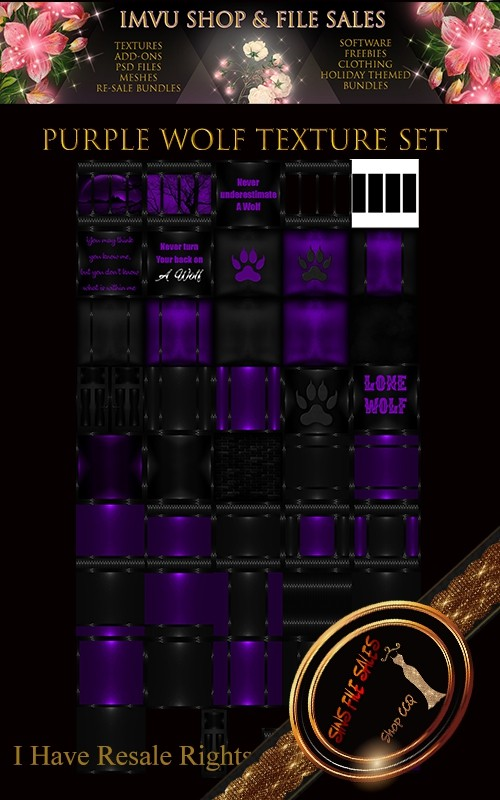 Purple Wolf Texture Pack- 44 Files