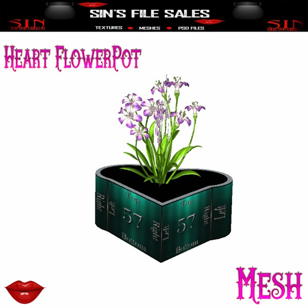 Heart Flowerpot *Mesh* W/Resale Rights