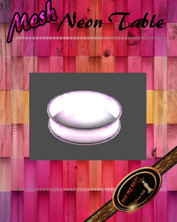 •Neon Glow Round Table Mesh•CHKN File