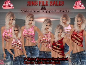 Valentine♥Ripped Shirt Set