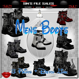 Mens Boot Set * 8 Pairs Included