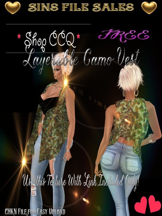 Freebie *Layer-able Camo Vest *CHKN File Included