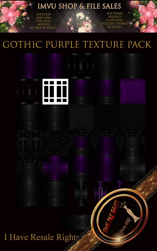 Gothic Purple Texture Pack- 28 Files