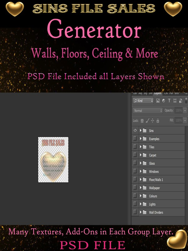 Generator ( Wall, Floor, Ceiling, Windows & more ) PSD Layered File.