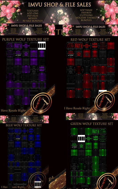Bundle and Save -Wolf Texture Bundle 4 Texture Packs Included Over 170 Textures!