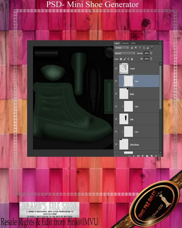 ◘Mini Shoe Generator Plus textures◘ PSD
