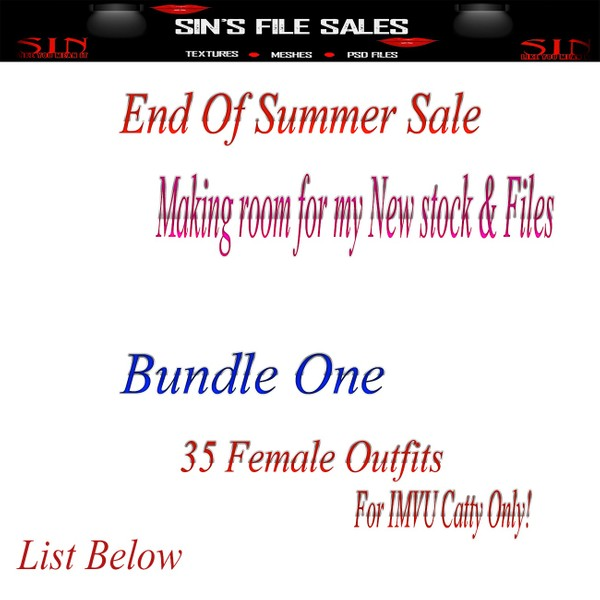 END OF SUMMER SALE!! Bundles Priced To Sale!