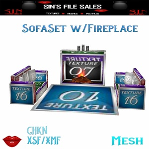 Sofa Set w/Fireplace * Mesh