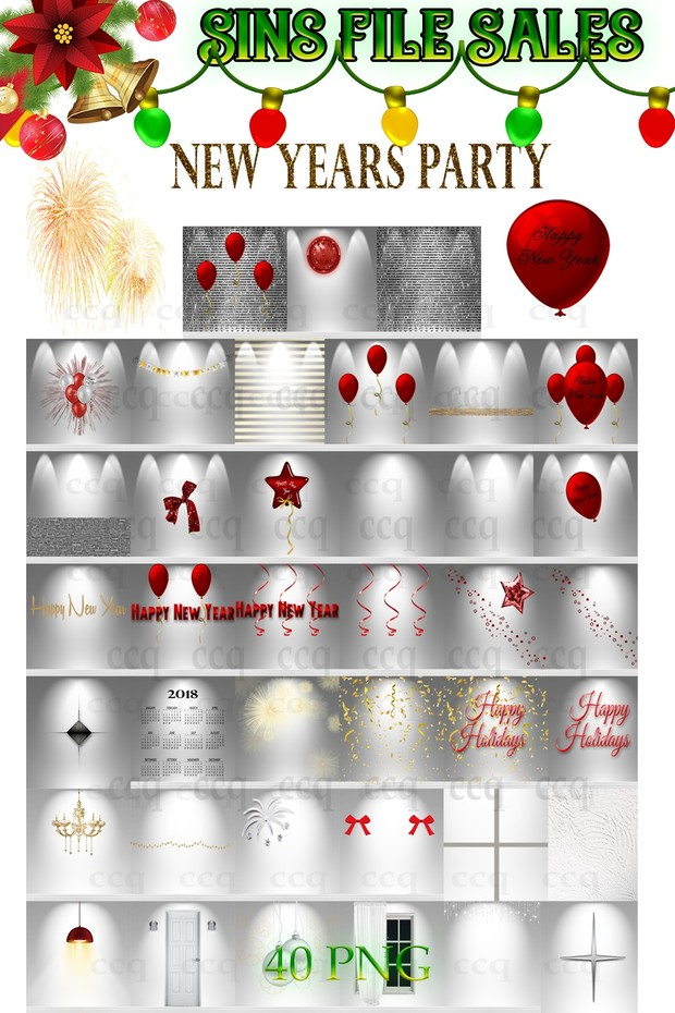 New Year Party Textures * 40 Png