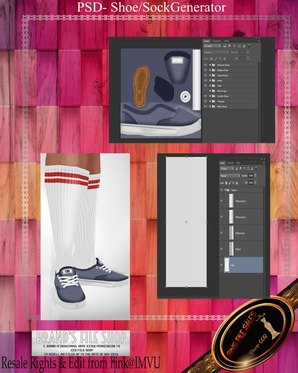 ◘Shoe/Sock Generator Plus Textures◘ PSD
