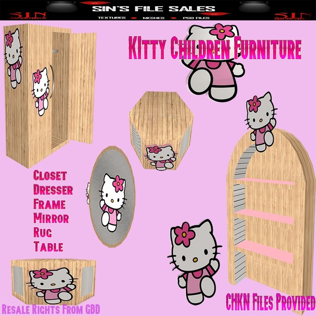Children Furniture Meshes *7 Kitty Meshes Included