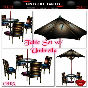 Table Set w/Umbrella *Mesh