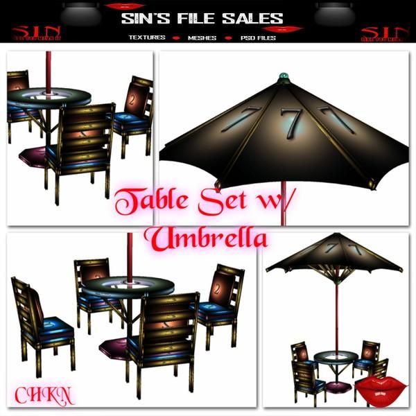 Table Set w/Umbrella *Mesh