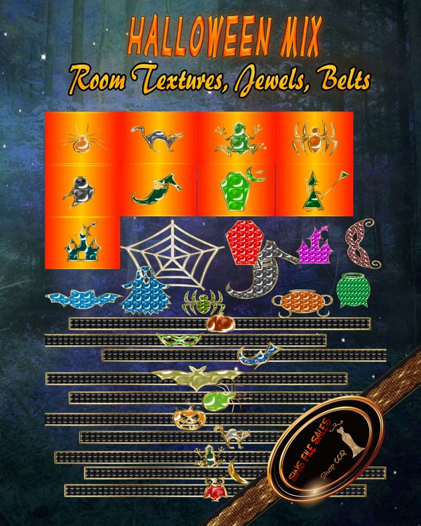 Halloween Mix *Add-On Belts, Jewels + Room Textures*