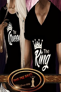 Matching•His and Her King Shirts Black•